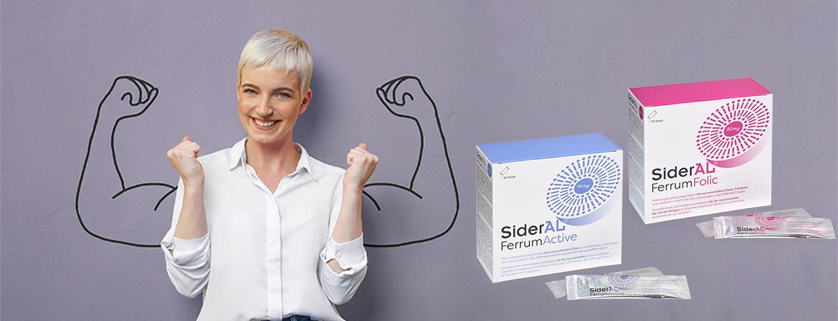 SiderAL Ferrum mit Frau für mehr Kraft und Leistungsfähigkeit